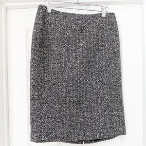 LOFT gray tweed wool blend pencil skirt